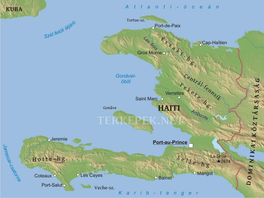 Haiti Domborzati Terkepe